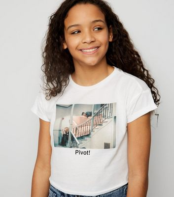 Girls White Friends Pivot Slogan T-Shirt