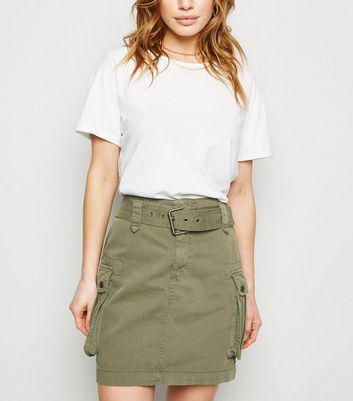 Petite Khaki Belted Denim Utility Skirt