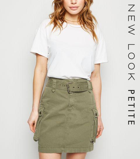 1590db81c7f ... Petite Khaki Belted Denim Utility Skirt ...