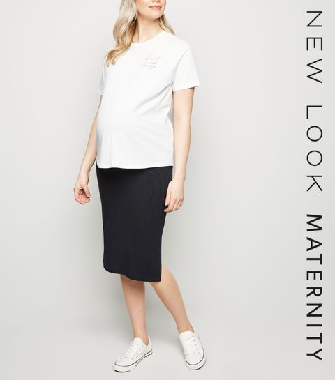 897df421b1 ... Maternity Black Rib Side Split Midi Skirt ...