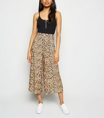 Petite Brown Leopard Print Crop Trousers