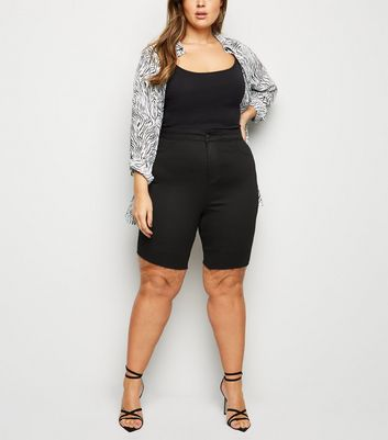 Curves Black Raw Hem Denim Shorts