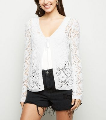 Cream Crochet Tie Front Cardigan