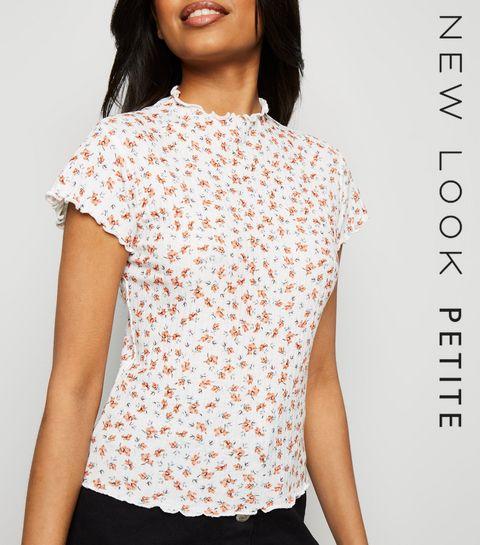 c28a26aff8b ... Petite White Floral Frill T-Shirt ...