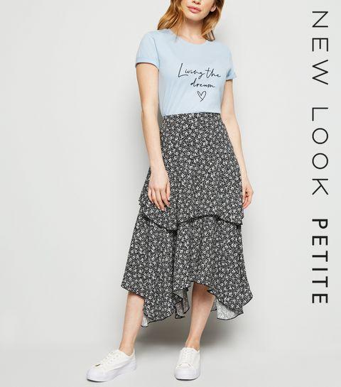 04d4cbbf85a ... Petite Black Ditsy Floral Hanky Hem Midi Skirt ...