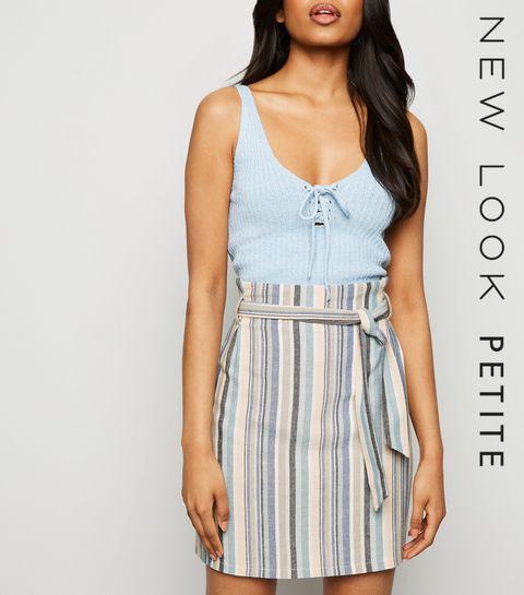 c87364e485fe8 ... Petite Pink Stripe Linen Look Paperbag Skirt ...