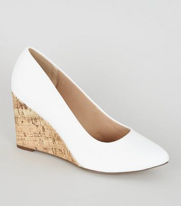Wide Fit White Leather-Look Cork Wedges