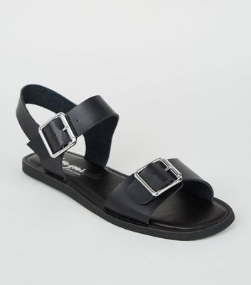 Wide Fit Black Leather-Look Buckle Sandals