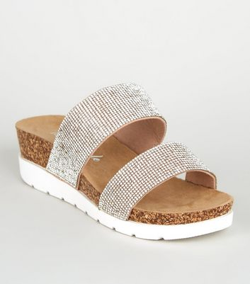 Wide Fit Silver Diamanté Cork Flatform Sandals