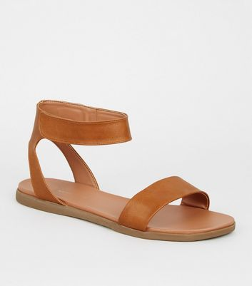 Wide Fit Tan Leather-Look Footbed Sandals