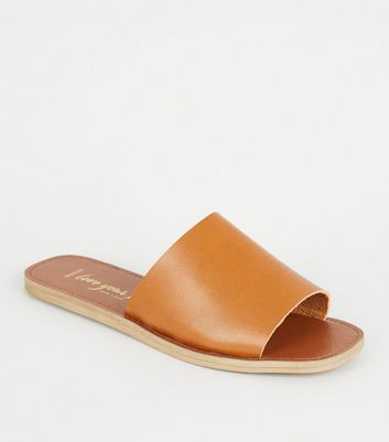 Wide Fit Tan Wide Strap Sliders
