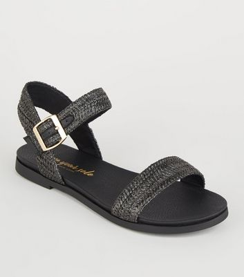 Wide Fit Black Woven 2 Part Footbed Sandals