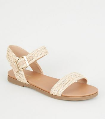 Wide Fit Off White Woven 2 Part Footbed Sandals