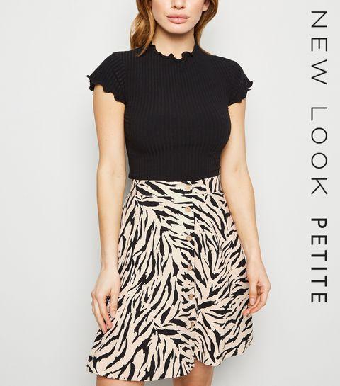 6941c806778 ... Petite Brown Tiger Print Button Up Mini Skirt ...