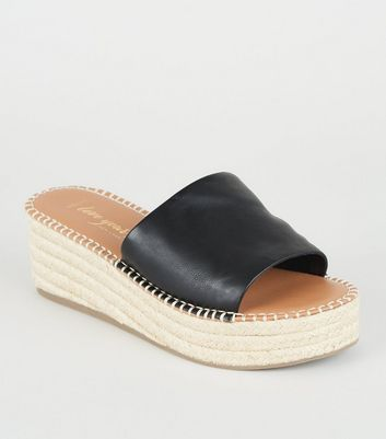 Wide Fit Black Leather-Look Espadrille Sliders