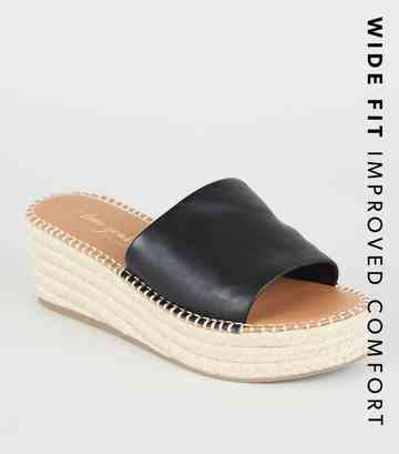 Wide Fit Black Leather-Look Espadrille Sliders ...