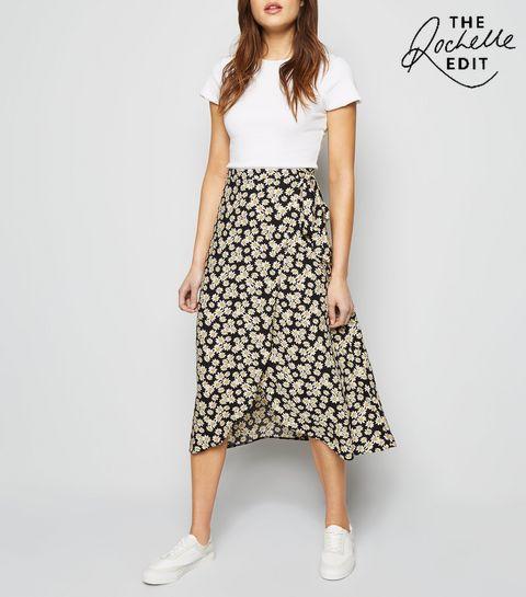 56363b962a18 ... Black Daisy Wrap Midi Skirt ...