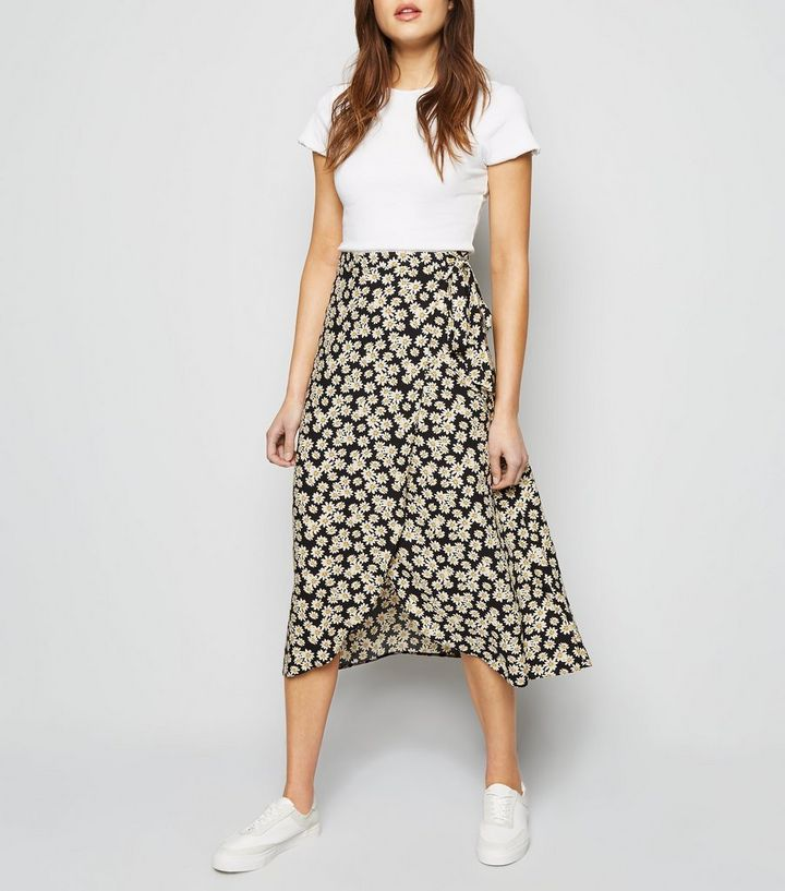 d5f0bed2c4 Black Daisy Wrap Midi Skirt Add to Saved Items Remove from Saved Items