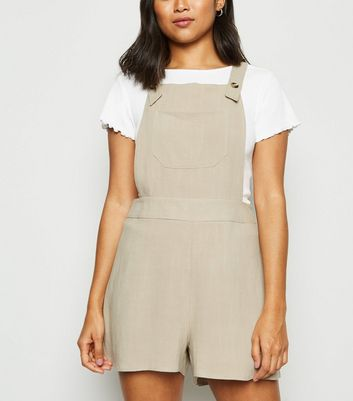 Petite Stone Linen Look Strappy Playsuit