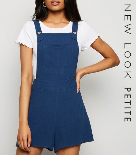b822bcdebbc8 ... Petite Navy Linen Look Strappy Playsuit ...