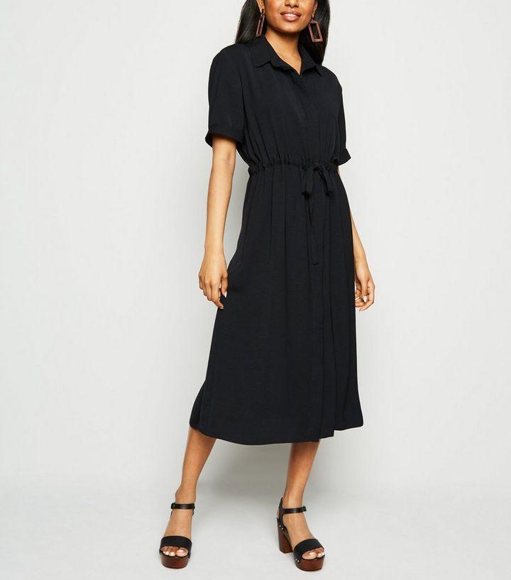grande remise pour publier des informations sur 2019 professionnel Petite - Robe chemise mi-longue noire à cordon de serrage Ajouter à la  Wishlist Supprimer de la Wishlist