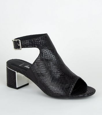 Wide Fit Black Faux Snake Peep Toe Heels