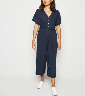 Petite Navy Ribbed Button Up Jumpsuit