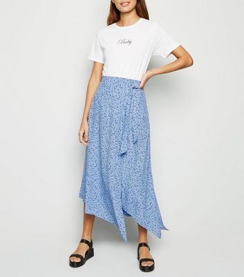 Blue Floral Tie Side Midi Skirt