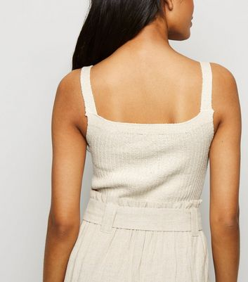 petite cream knit lace up vest new look