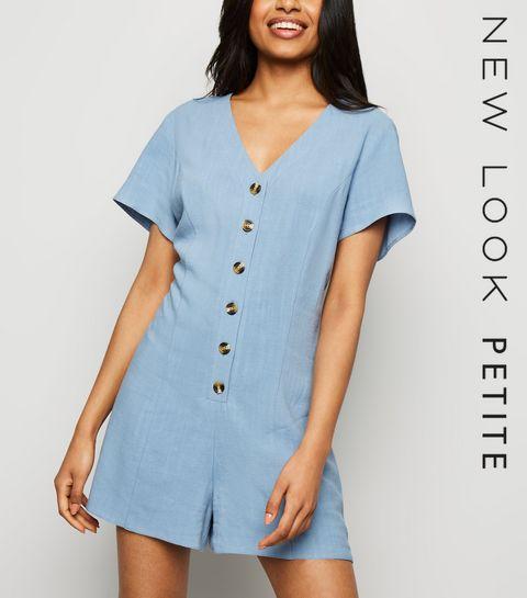 86971357059a ... Petite Blue Linen Look Button Up Playsuit ...