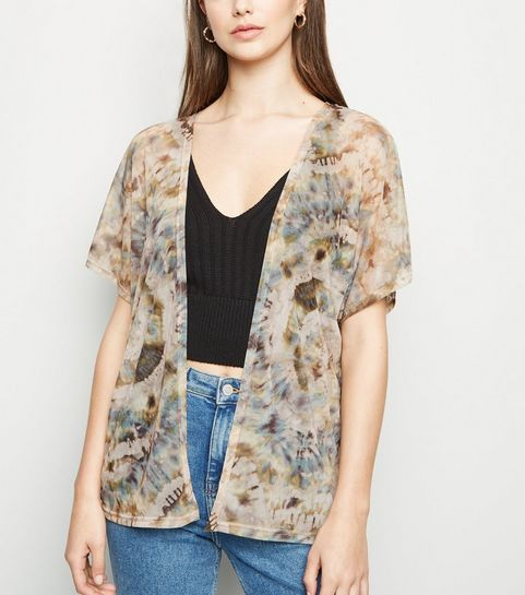 329474f03d ... Carpe Diem Brown Tie Dye Boxy Kimono ...