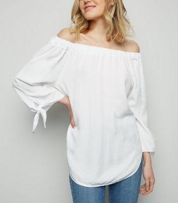 Cameo Rose White Tie Sleeve Bardot Top