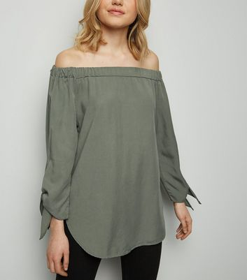Cameo Rose Khaki Tie Sleeve Bardot Top