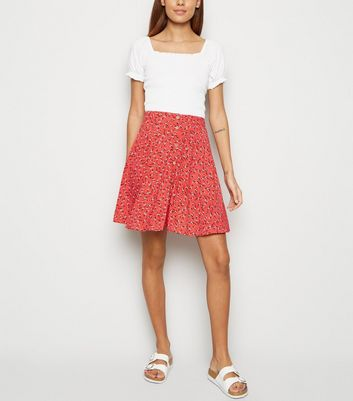 Red Ditsy Floral Button Front Mini Skirt