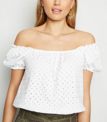 Tall White Broderie Bardot Top