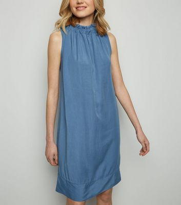 Cameo Rose Indigo High Neck Frill Dress