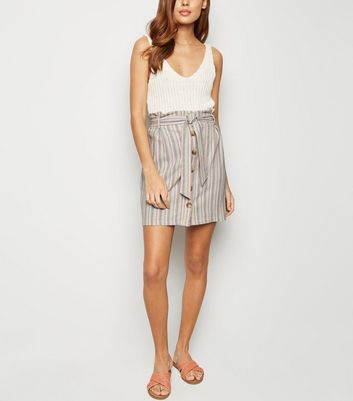 White Stripe Linen Look Paperbag Mini Skirt