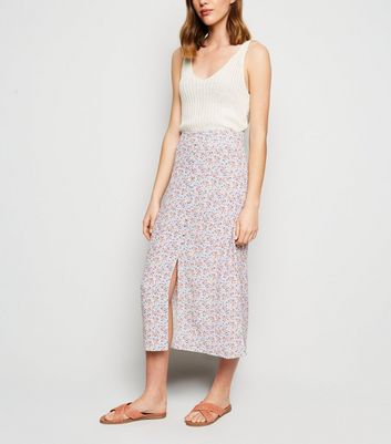 Blue Ditsy Floral Button Midi Skirt