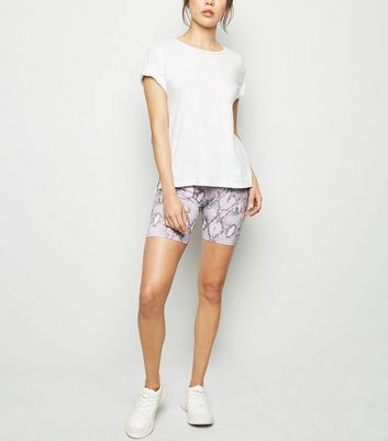 White Snake Print Cycling Shorts