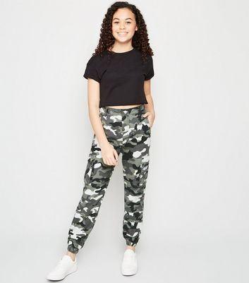 Girls Light Grey Camo Utility Trousers