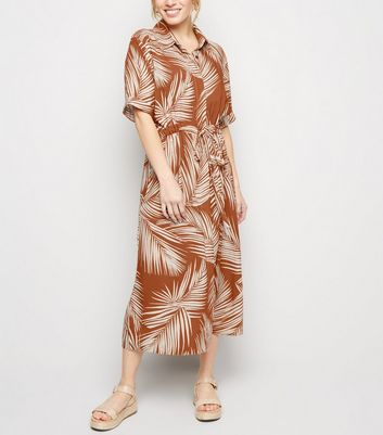 Brown Palm Print Midi Shirt Dress