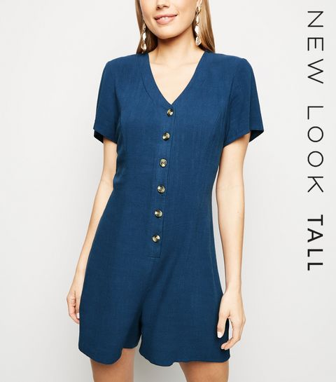 5fa995ecd5 ... Tall Navy Linen Look Button Up Playsuit ...