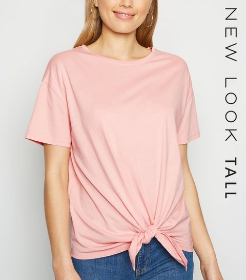 1ef4573c87 ... Tall Coral Tie Front T-Shirt ...