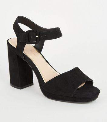 Wide Fit Black Suedette 2 Part Platform Heels