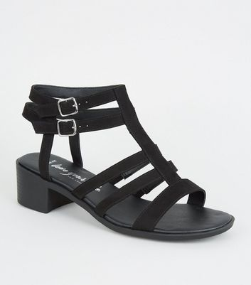 Wide Fit Black Caged Low Heel Footbed Sandals