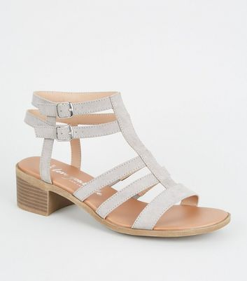 Wide Fit Grey Suedette Footbed Gladiator Sandals