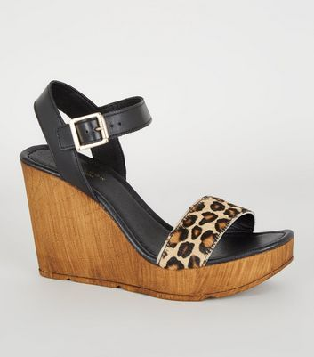 Black Premium Leather Leopard Print Strap Wedges