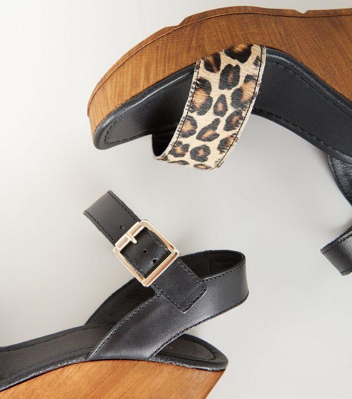 dd34633cf9 ... Black Premium Leather Leopard Print Strap Wedges. ×. ×. ×. Shop the look