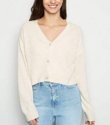 Tall Cream Button Up Crop Cardigan