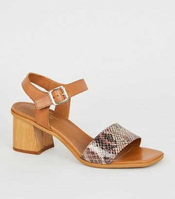 Tan Premium Leather Faux Snake Strap Sandals